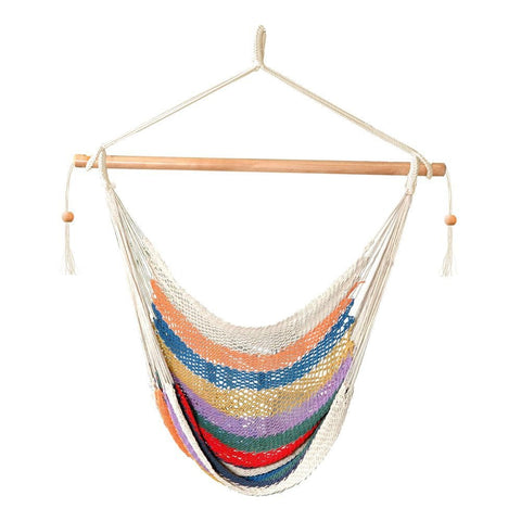 Bliss Island Rope Hammock Chair (Multicolor) - Outdoor Art Pros