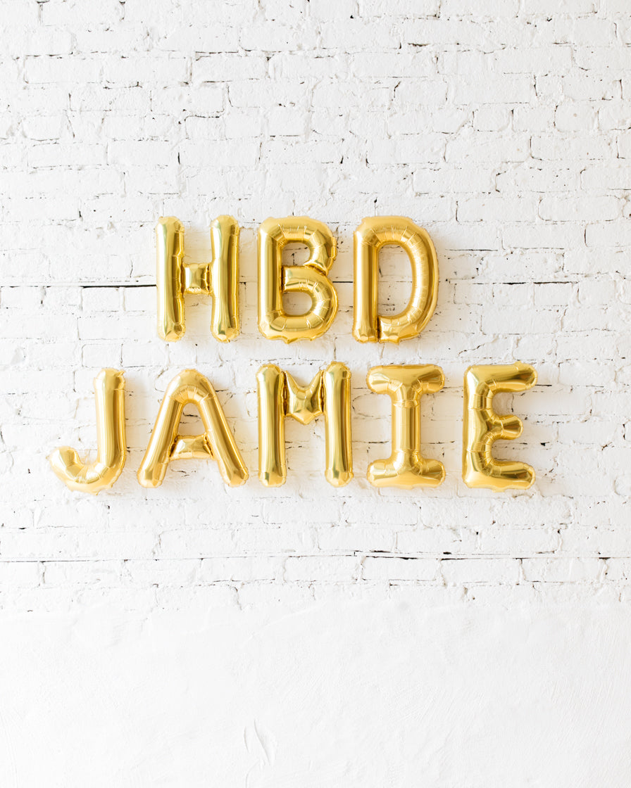 Customizable 16in Gold HBD Foil Balloon Set
