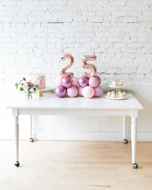 Modern Mauve - Tabletop Foil Numbers on Balloon Base - 1.5ft