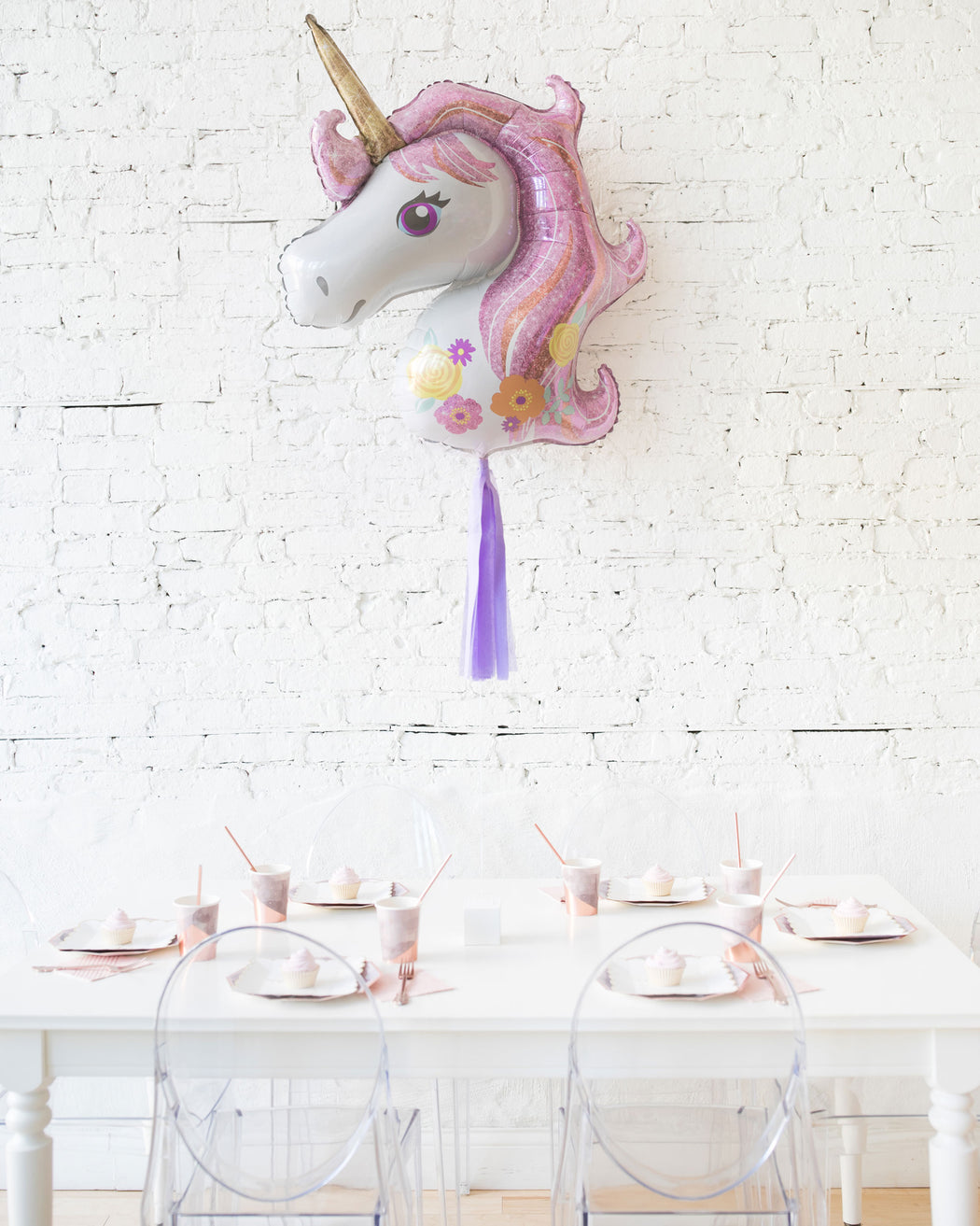 29in Unicorn Foil Balloon and Lavender Skirt Centerpiece