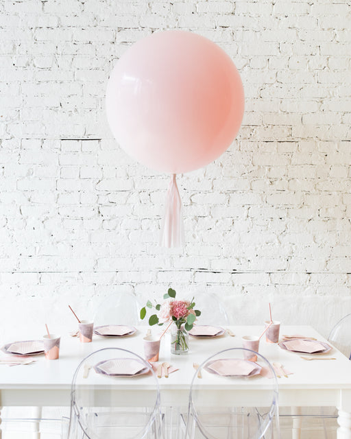 Light Pink Giant Balloon and Mauve Floral Arrangement Centerpiece