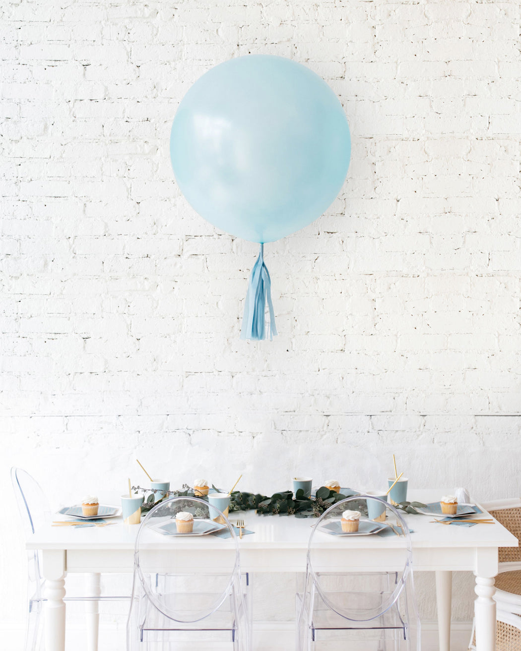 Pearl Light Blue Giant Balloon and French Blue Skirt Centerpiece