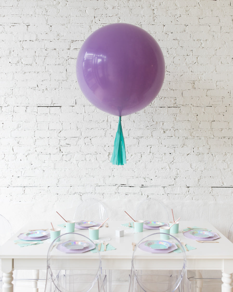 Lilac Giant Balloon and Mint Skirt Centerpiece
