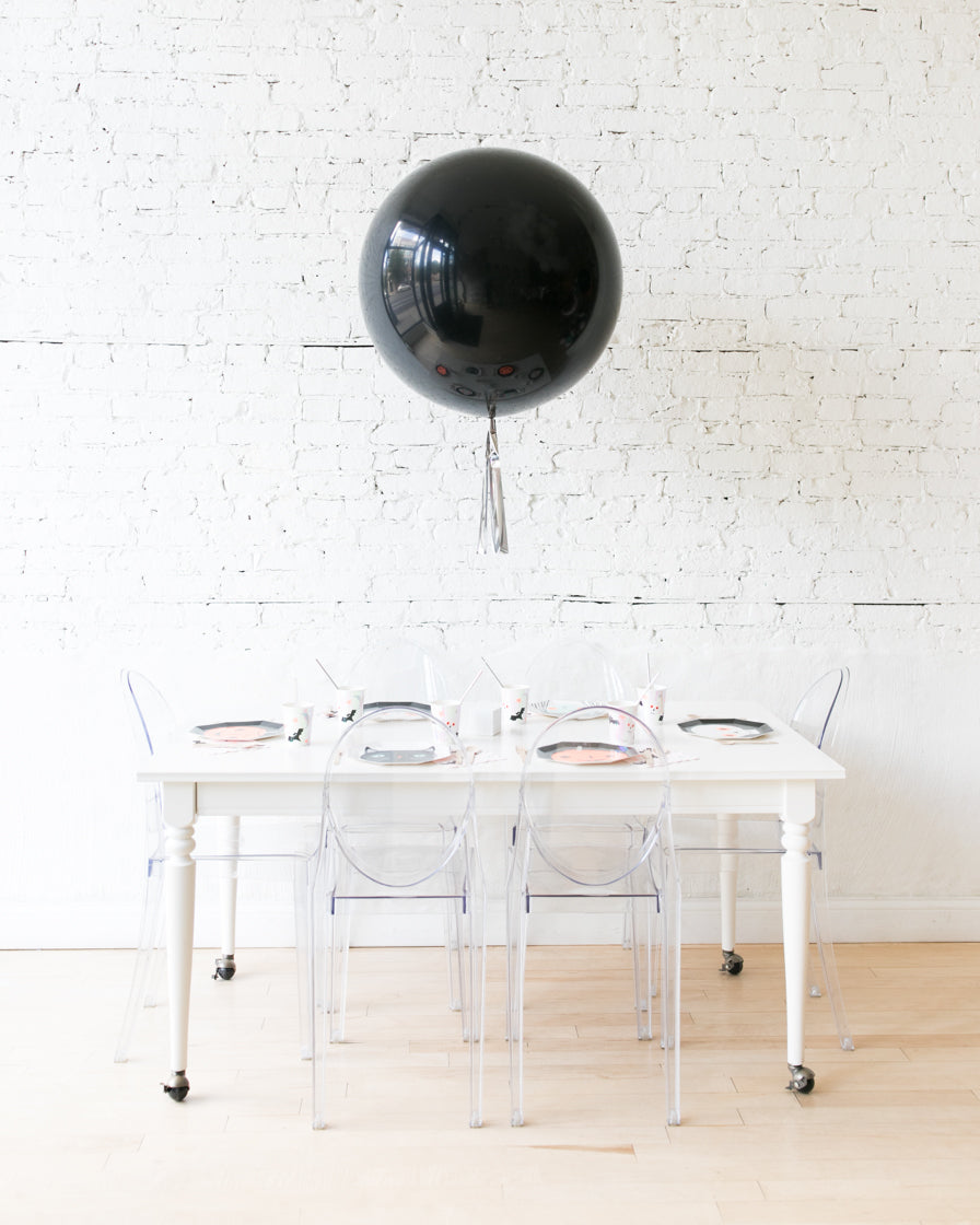 Black Giant Balloon with Silver Skirt Centerpiece