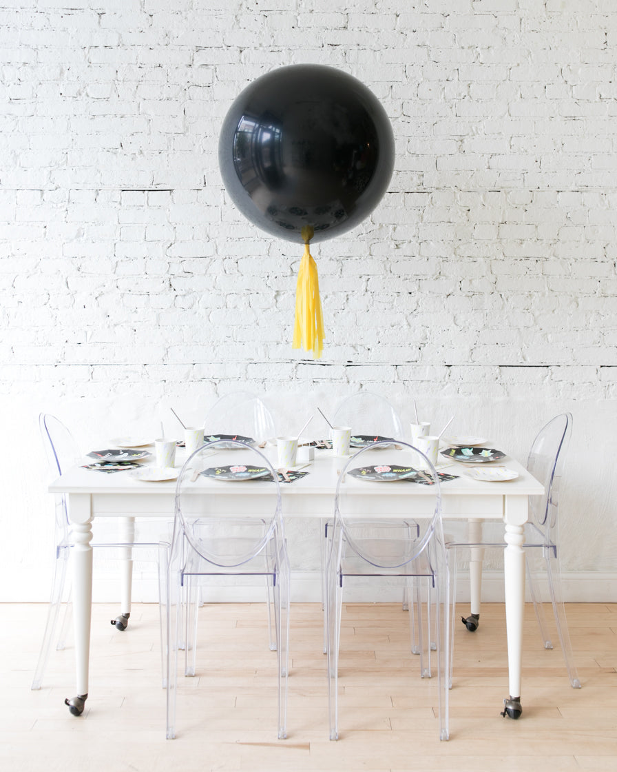 Black Giant Balloon and Yellow Skirt Centerpiece