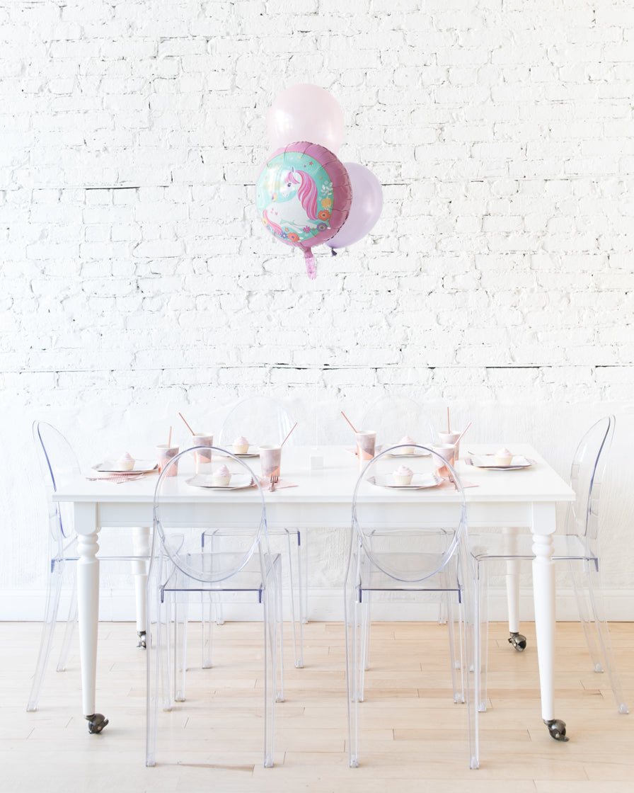 Unicorn Happy Birthday Foil and 11in Balloons Centerpiece - bouquet of 3