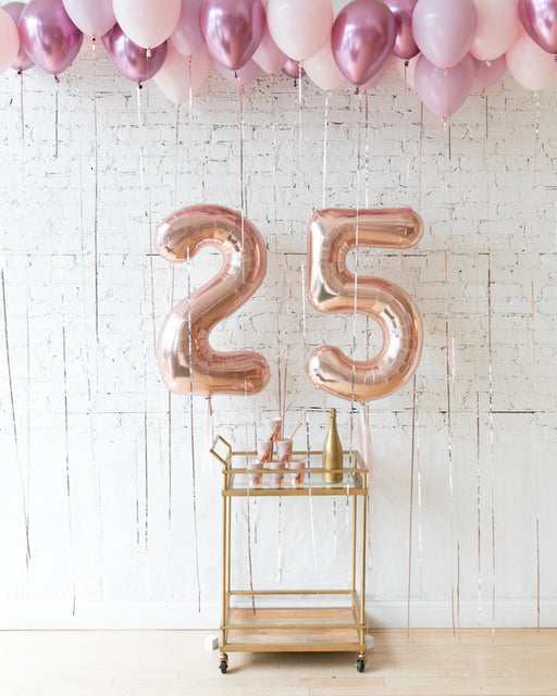 Shades of Mauve Palette Foil Custom Numbers & Ceiling Balloon Set