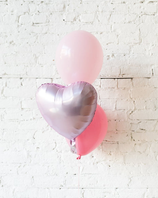 Shades of Pink Palette Foil Heart and 11in Balloons - bouquet of 3