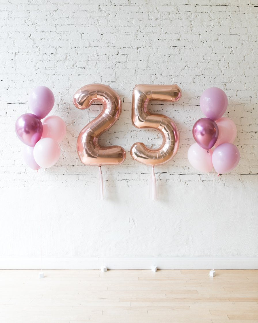 Shades of Mauve Palette Custom Numbers & 11in Balloon Bouquets Set