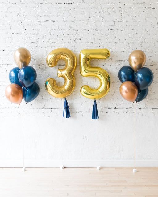 Gold, Navy and Copper Palette Custom Numbers & 11in balloon bouquets set