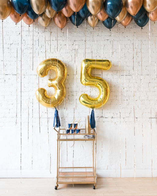 Gold, Navy and Copper Palette Custom Foil Numbers & Ceiling Balloon Set