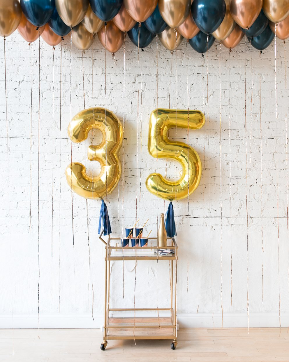 Midnight Copper - Custom Foil Numbers & Ceiling balloon set
