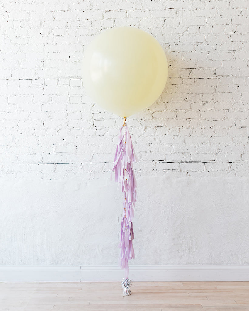 "36"" Giant Pearl Ivory Balloon with Lilac Tassel"