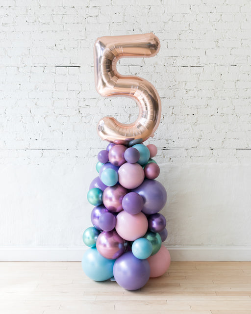Customized Mermaid Theme Number Balloon Column - small