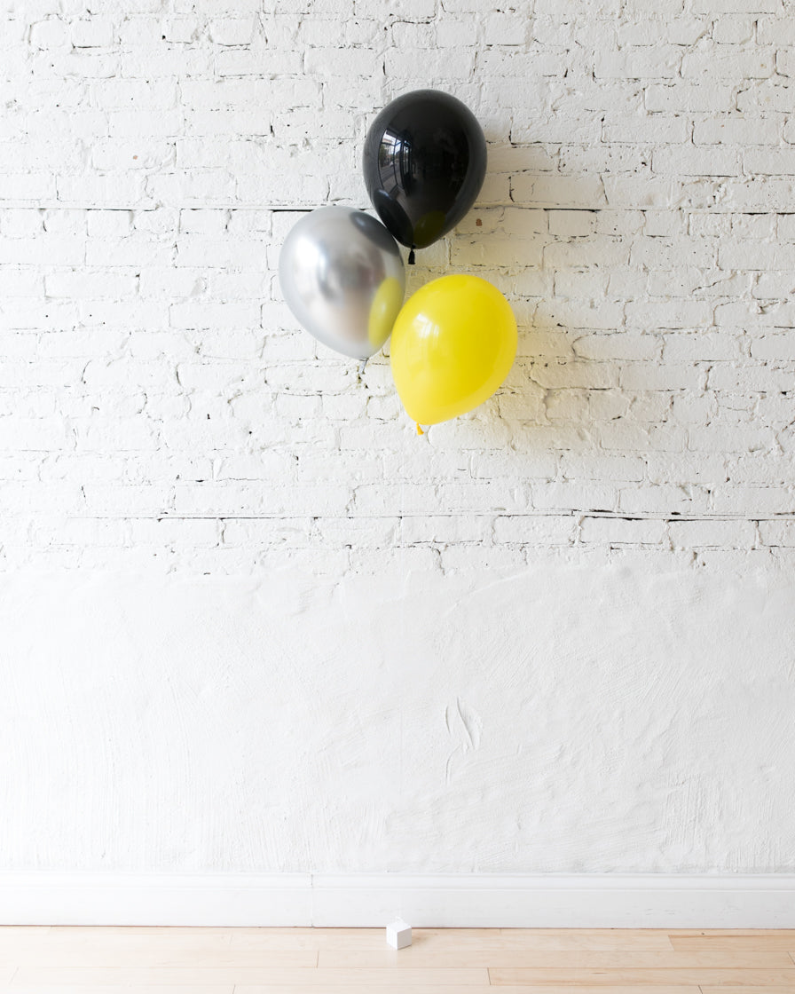 Superhero Theme - Black,Yellow & Silver 11in Balloons - bouquet of 3