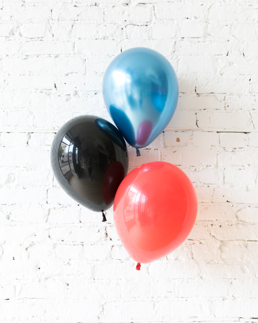 Superhero Theme - Black, Red & Blue 11in Balloons - bouquet of 3