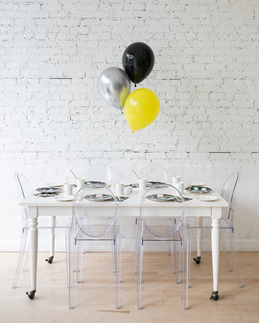 Superhero Theme - Black,Yellow & Silver 11in Balloons Centerpiece - bouquet of 3