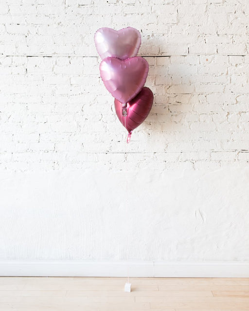 Shades of Pink Palette Foil Hearts Balloons - bouquet of 3