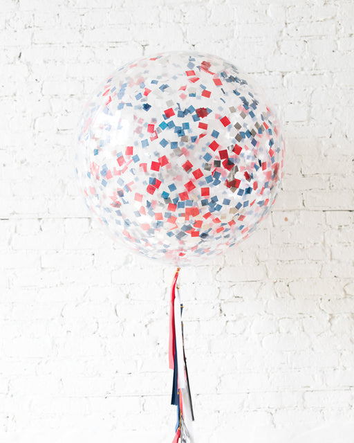 Red, White & Blue Confetti Giant Balloon and Tassel