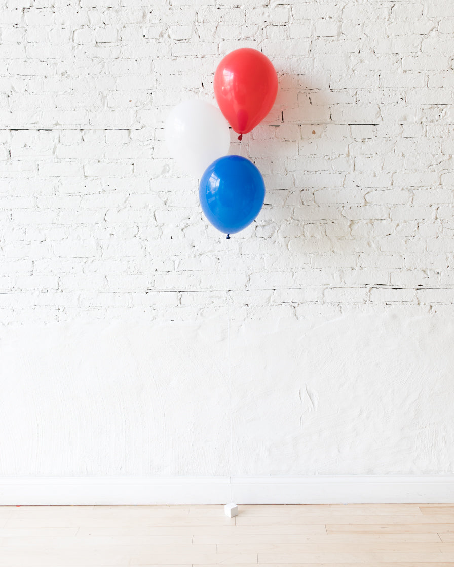 Red, White and Blue Palette 11in Balloons - bouquet of 3