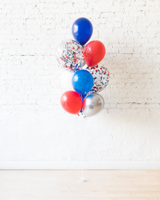 Red, White and Blue Palette Confetti and 11in Balloons - bouquet of 10