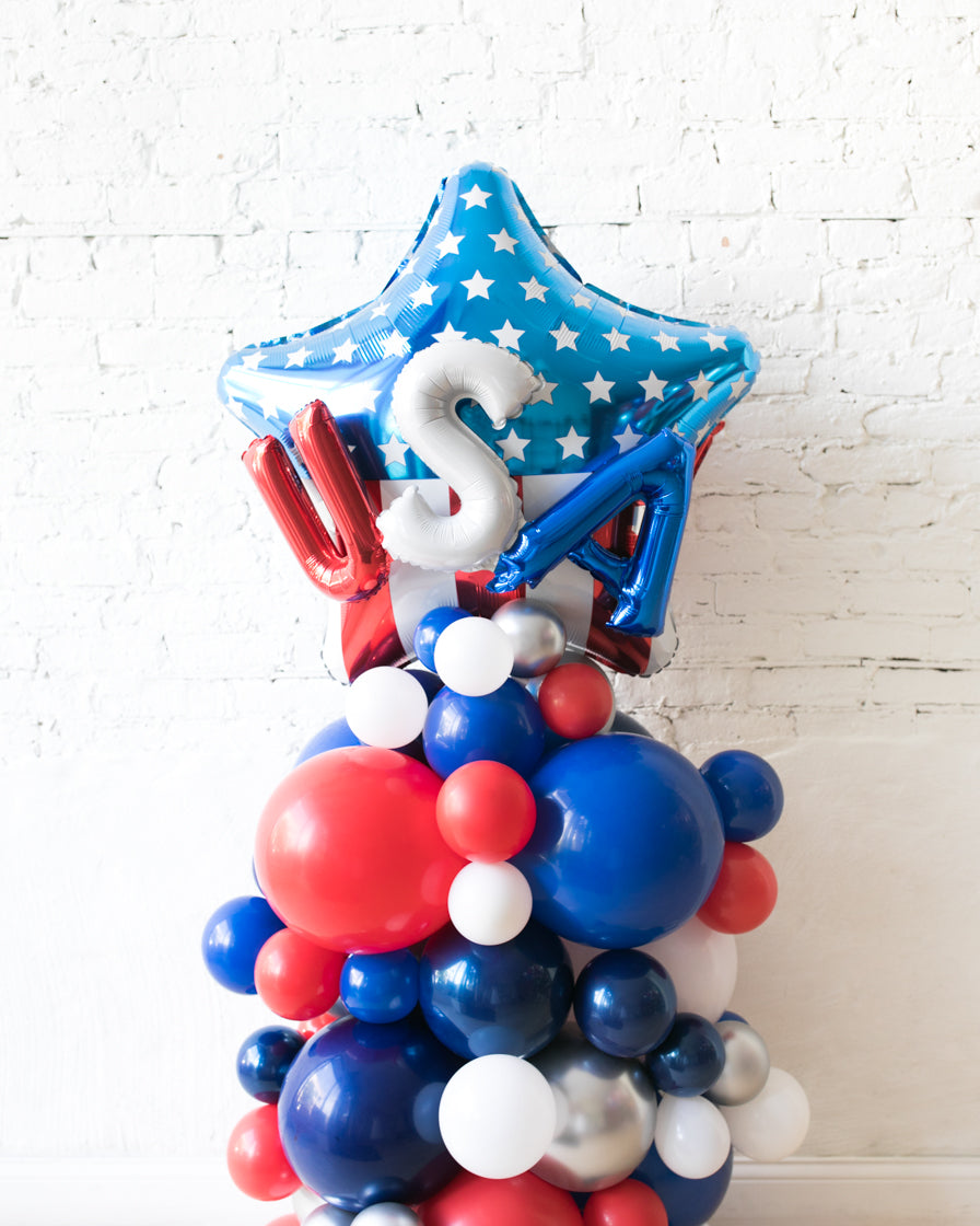 OUTDOOR-USA Star Red, White & Blue Palette Balloon Column