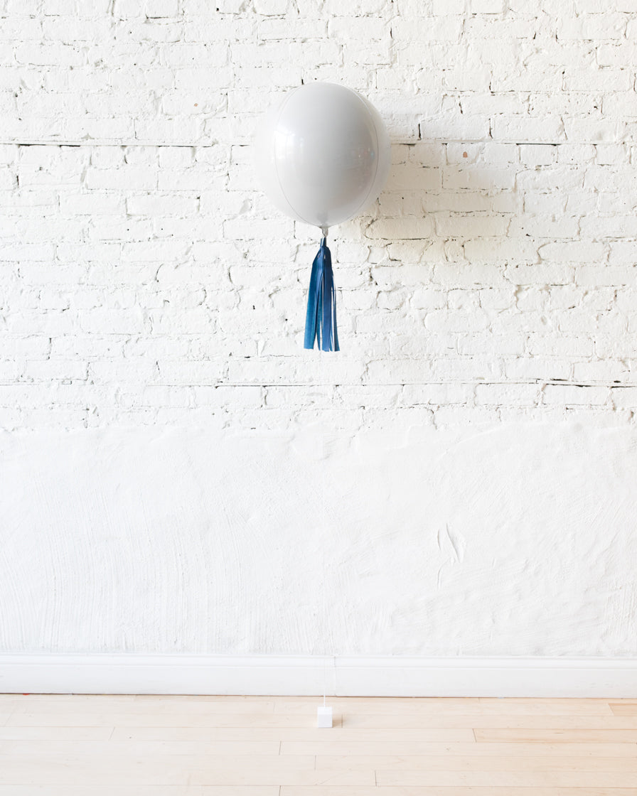 16in White Orb Foil Balloon and Navy Skirt