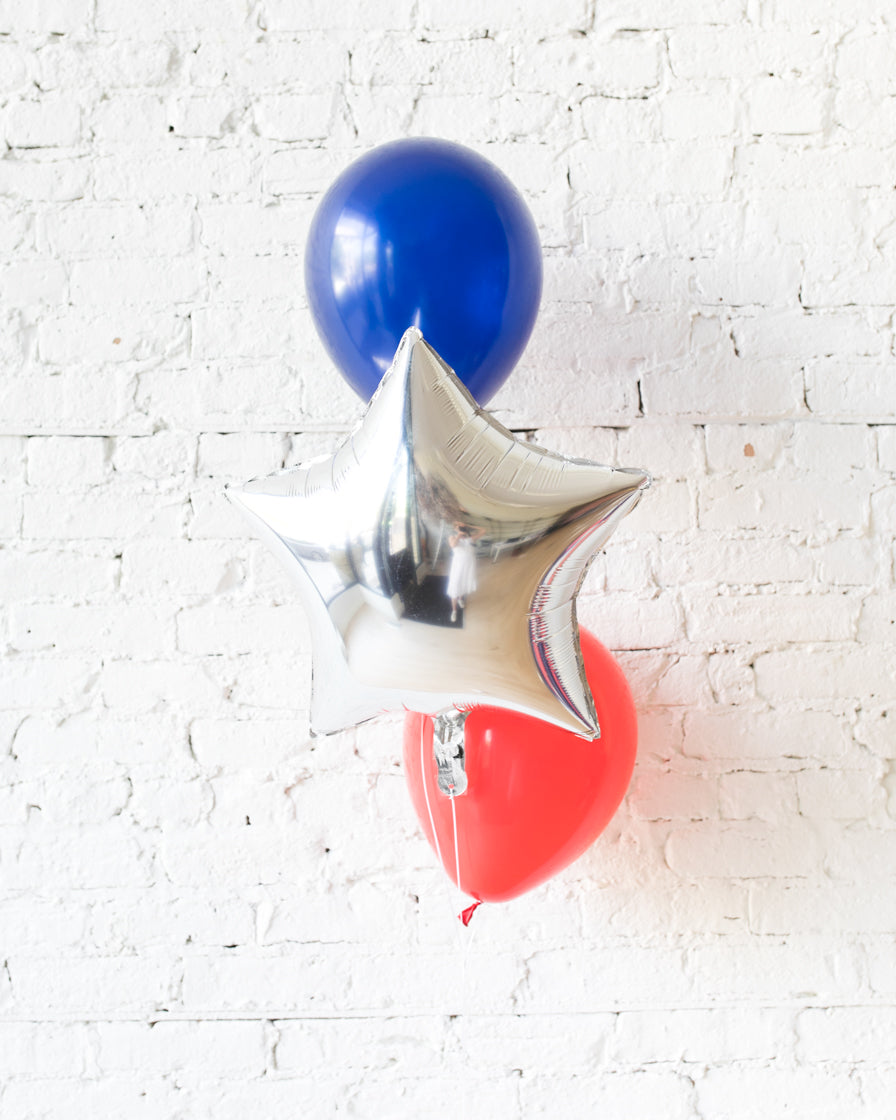 Red, Blue and Silver Palette Star and 11in Balloons - bouquet of 3