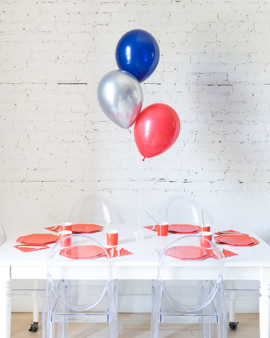 Red, Blue and Silver 11in Balloons Centerpiece - bouquet of 3