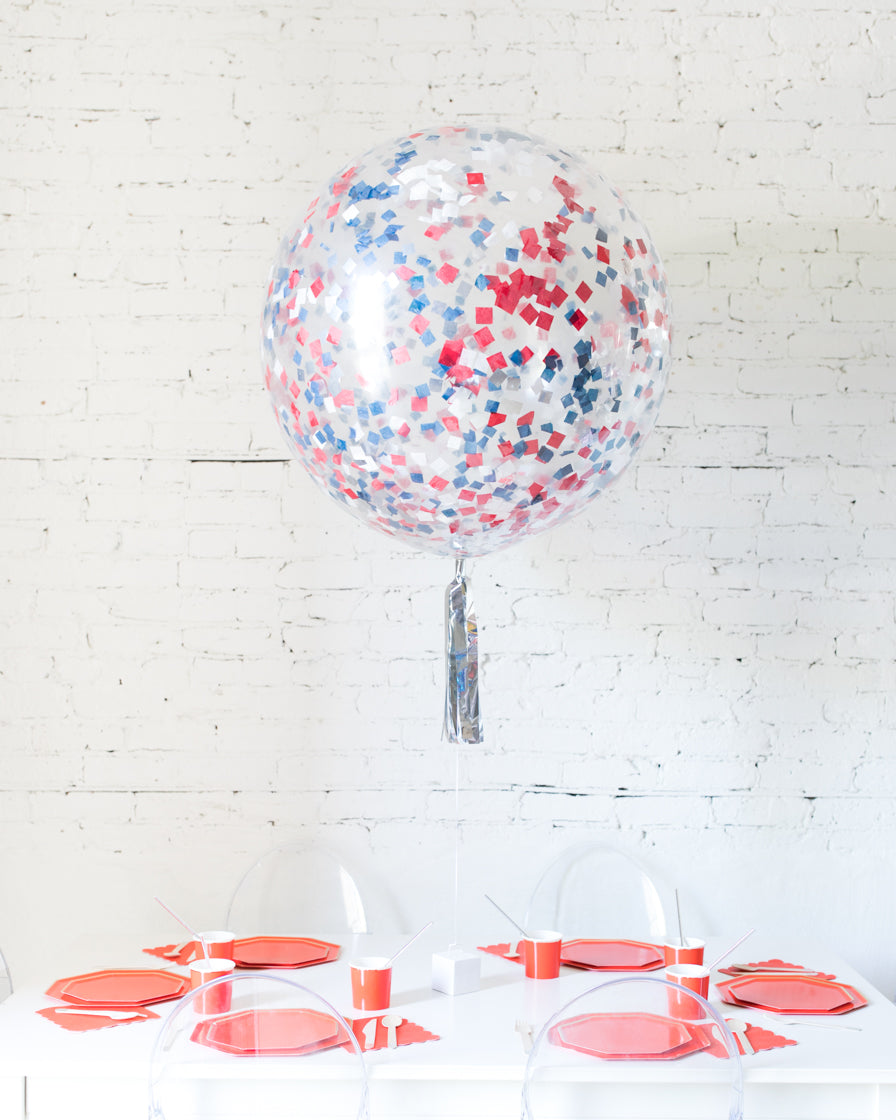Red, White and Blue Palette Confetti Giant Balloon and Silver Skirt Centerpiece