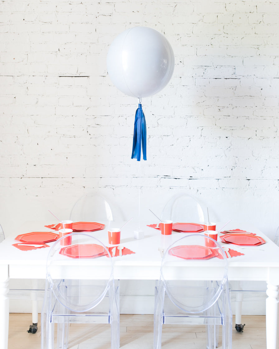 16in White Orb Foil Balloon and Navy Skirt Centerpiece