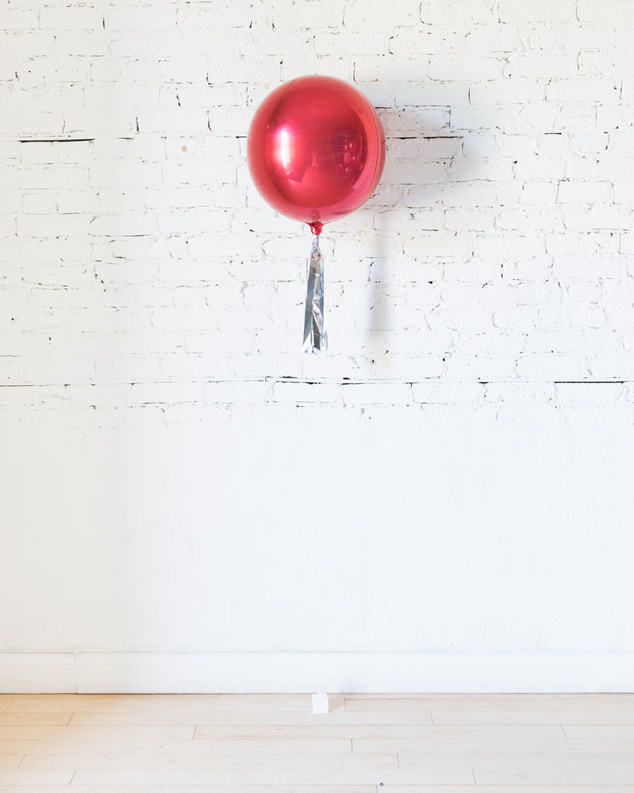 16in Red Orb Foil Balloon and Silver Skirt