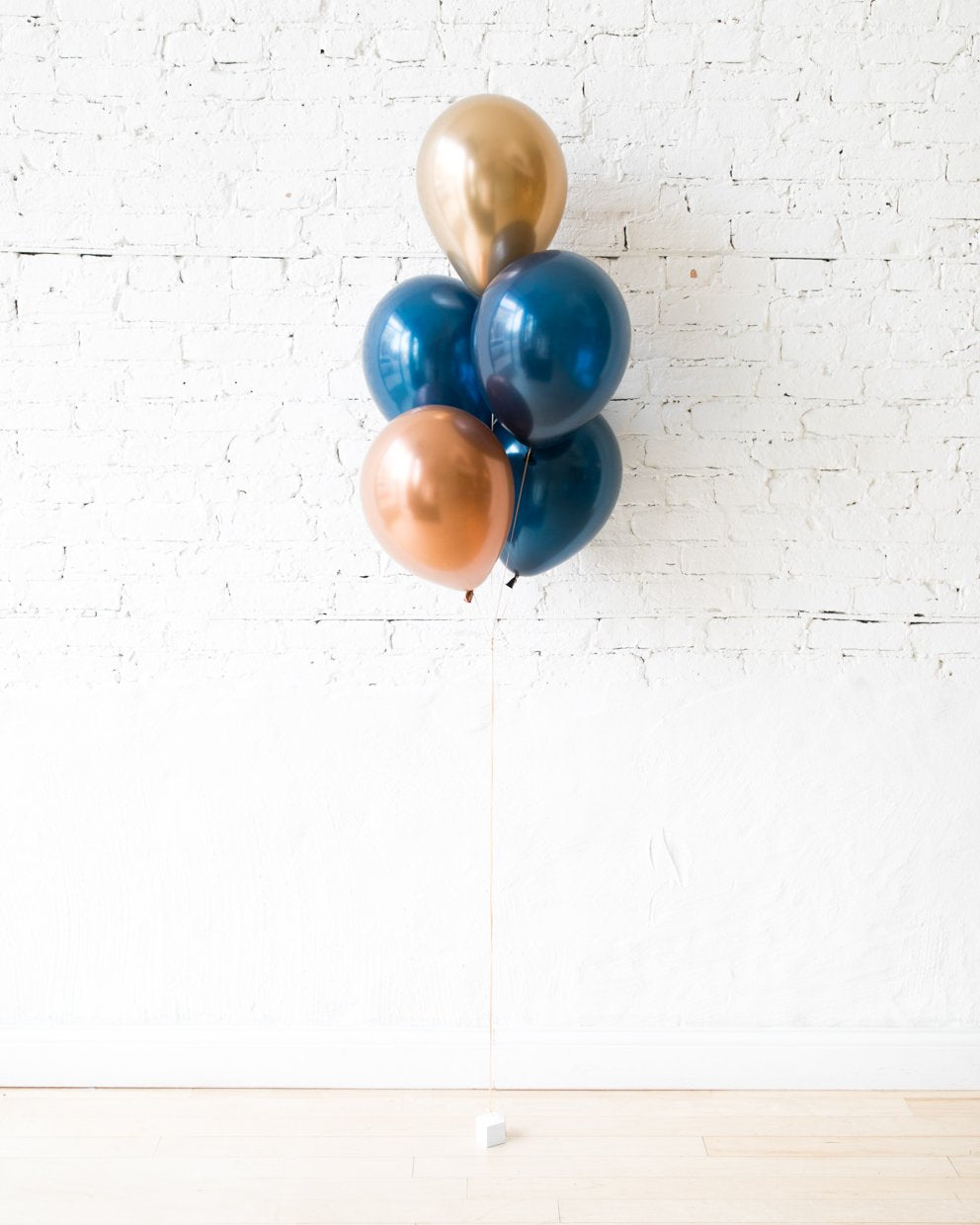 Gold, Navy and Copper 11in balloons - bouquet of 5