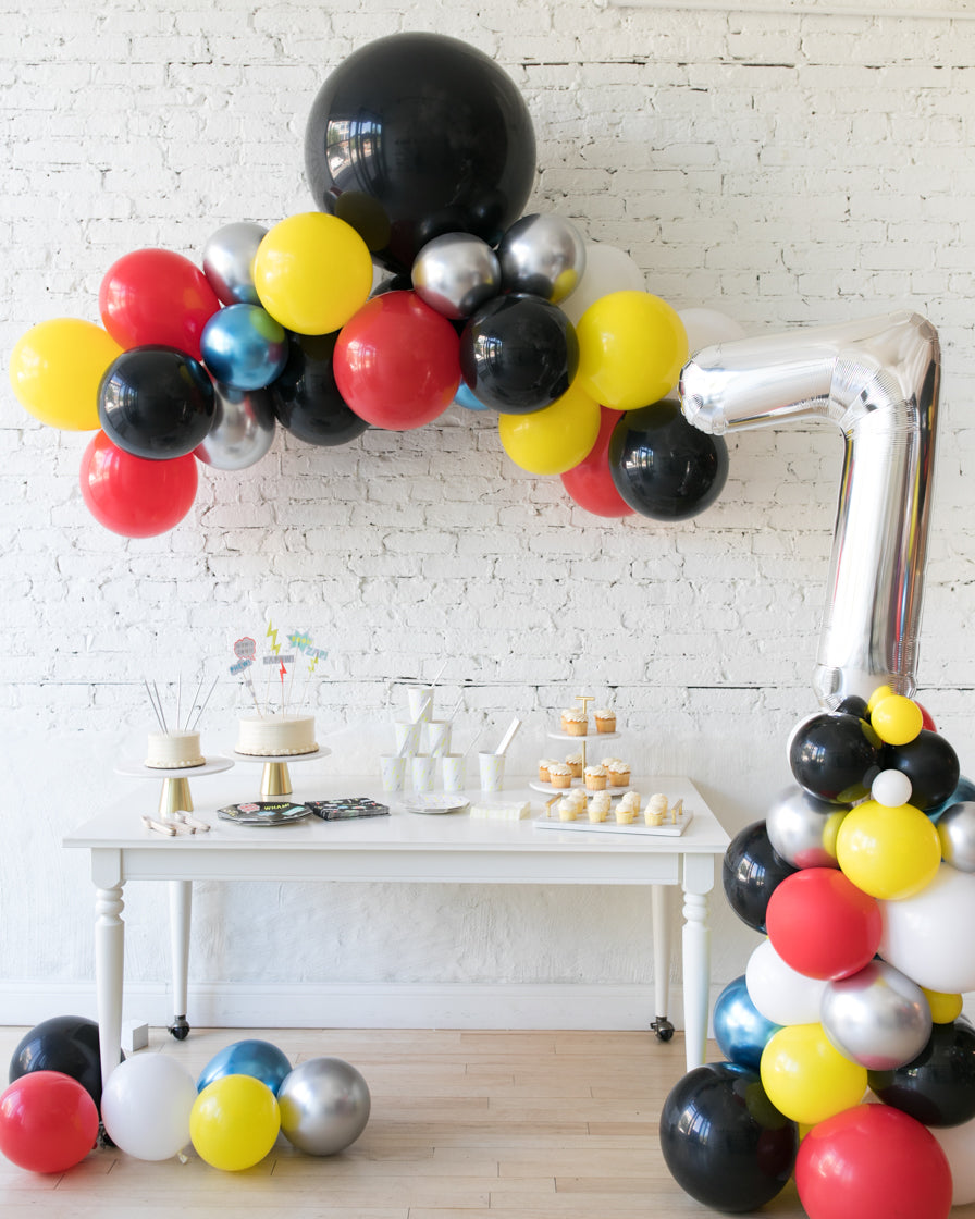Superhero Theme Floating Arch & Balloon Column Set