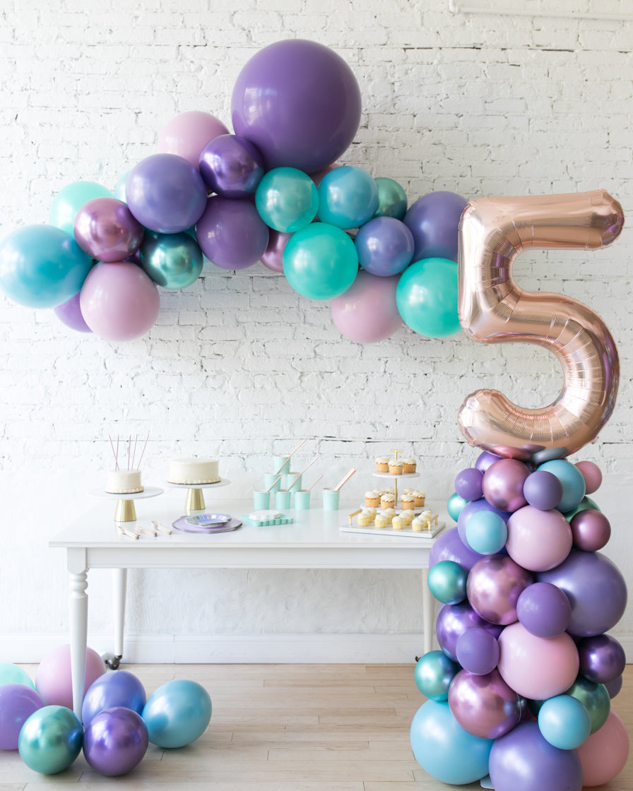 Mermaid Theme Floating Arch and Number Column Set