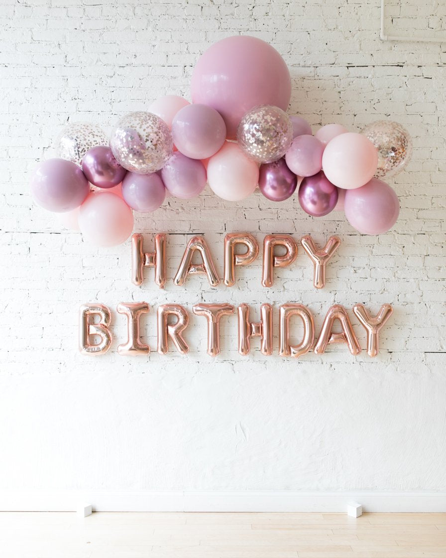 Shades of Mauve Palette Floating Arch and Happy Birthday Foil Letters set