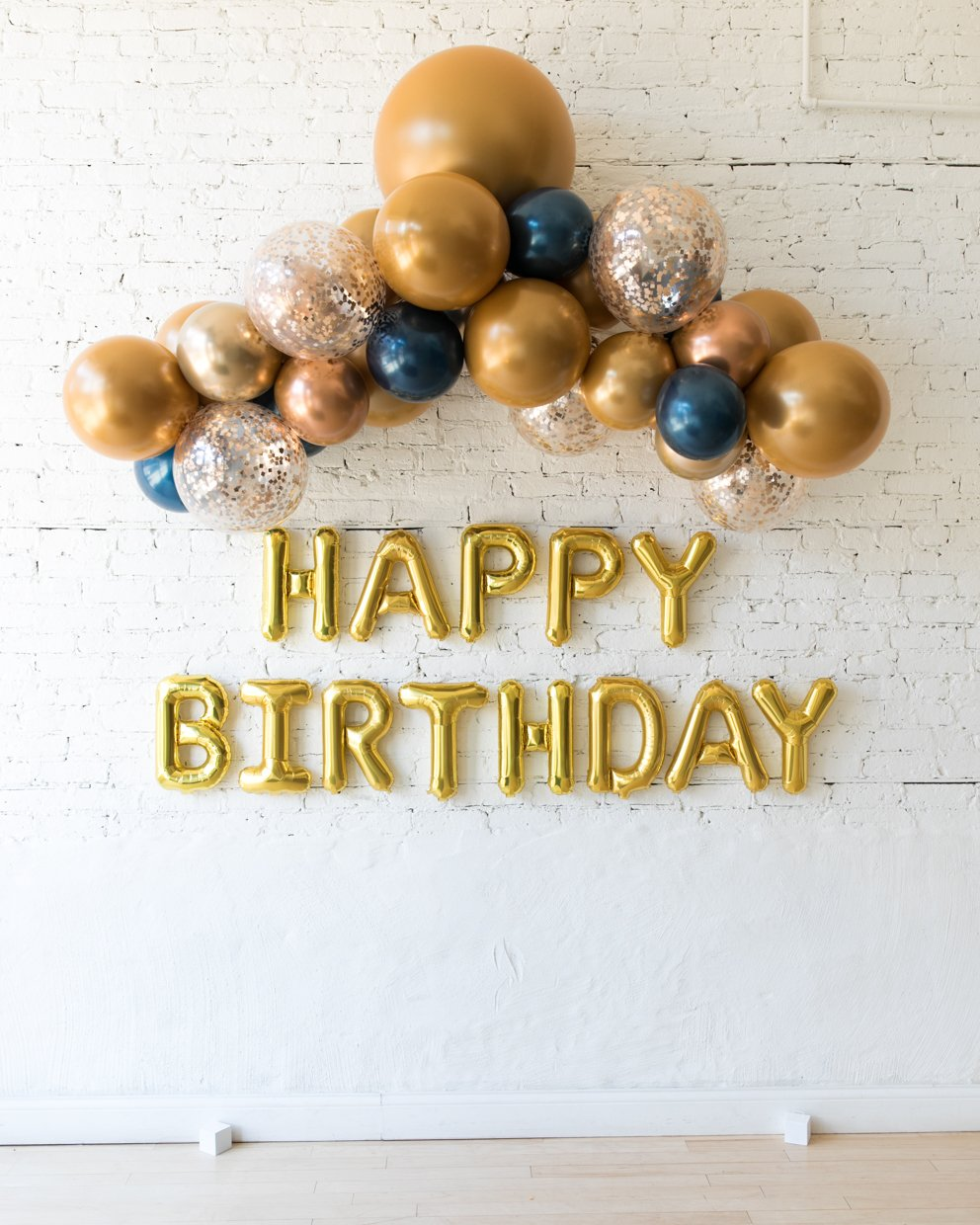 Gold, Navy and Copper Palette Floating Arch & Happy Birthday Foil Letters Set
