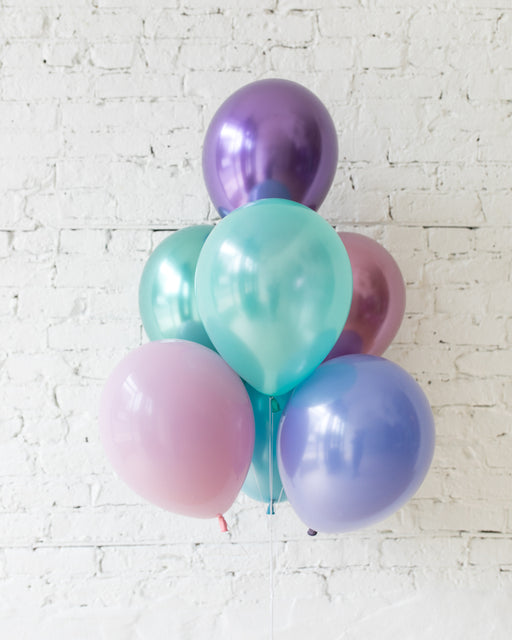 Mermaid Theme 11in Balloons - bouquet of 7