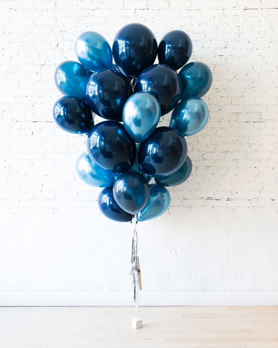 GIFT-Blue Palette Foil Number and Latex Balloon Bouquet