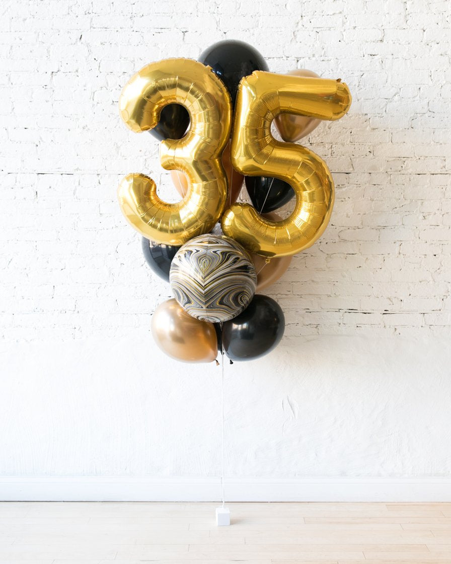 GIFT-Black and Gold Palette Foil Number and Latex Balloon Bouquet
