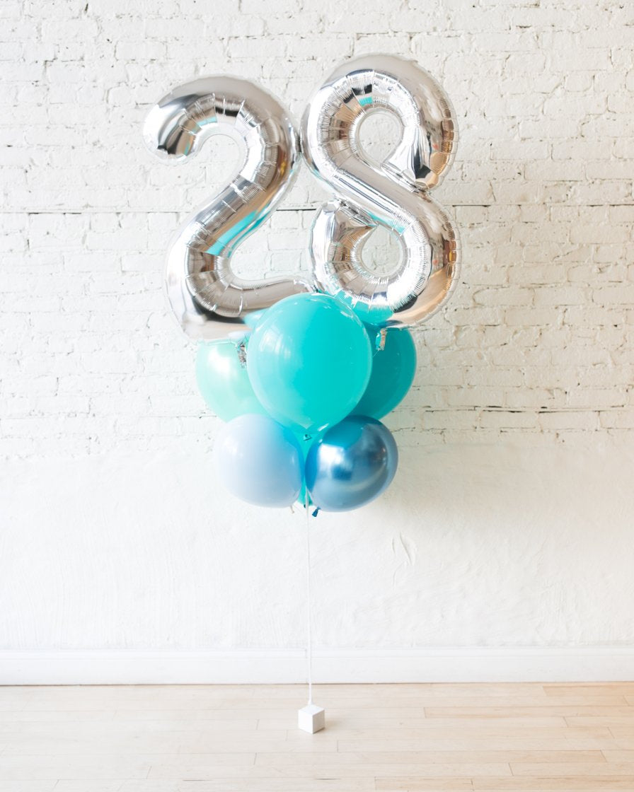 GIFT-Seafoam Palette Foil Number and Latex Balloon Bouquet