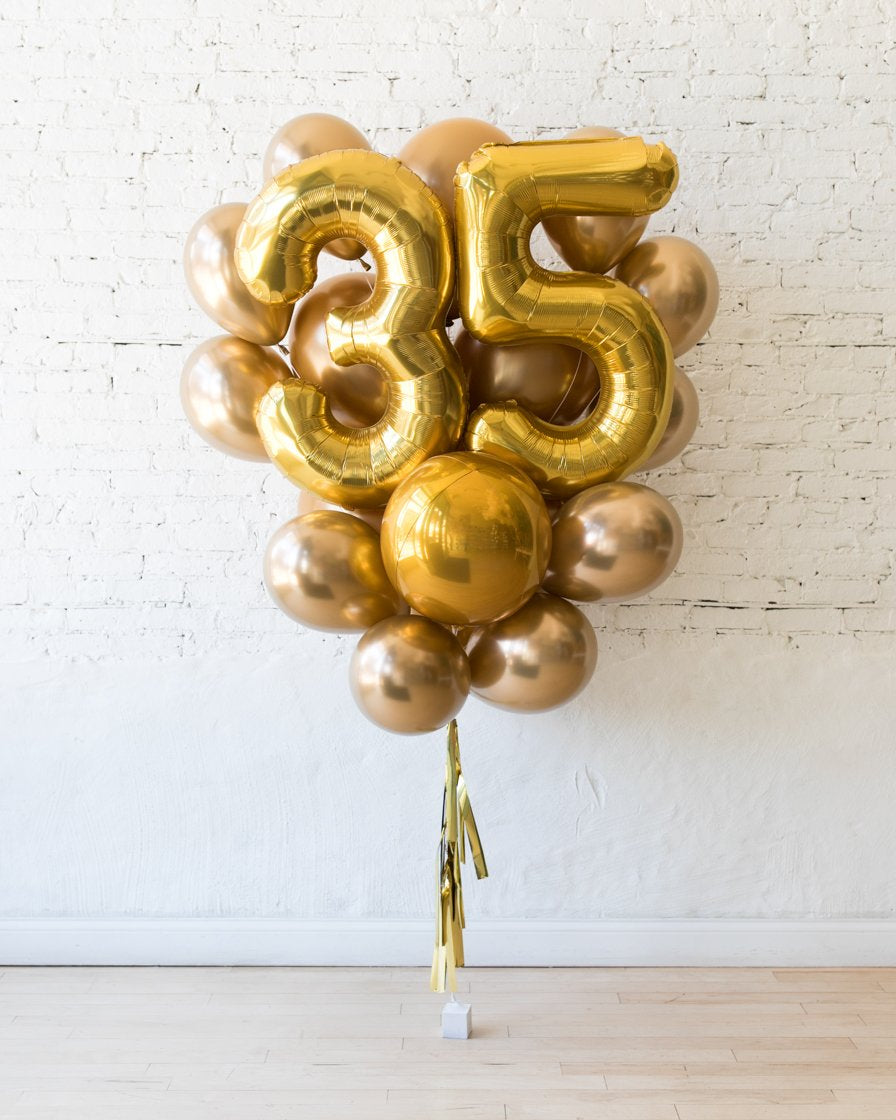 GIFT-Solid Gold Palette Foil Number and Latex Balloon Bouquet