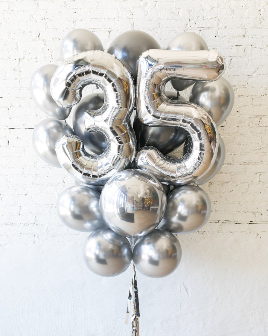 GIFT-All Silver Palette Foil Number and Latex Balloon Bouquet