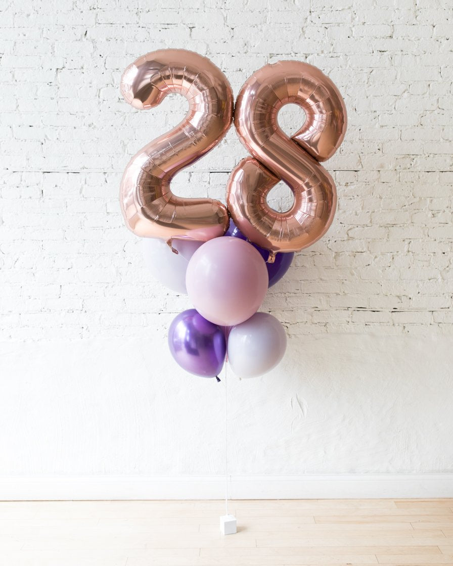 GIFT-Purple Palette Foil Number and Latex Balloon Bouquet