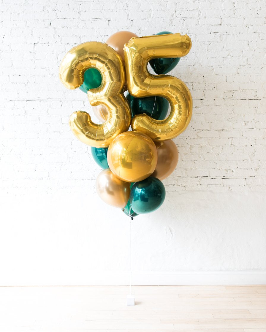 GIFT-Forest Green and Gold Palette Foil Number and Latex Balloon Bouquet