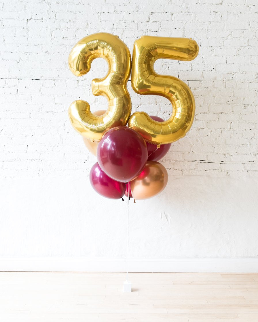GIFT-Burgundy and Gold Palette Foil Number and Latex Balloon Bouquet