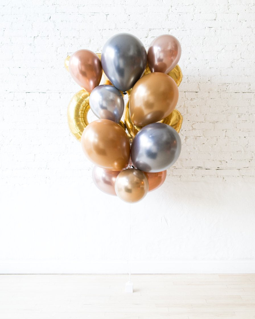 GIFT-Mixed Metals Palette Foil Number and Latex Balloon Bouquet