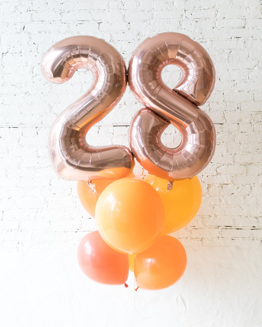 GIFT-Sunrise Palette Foil Number and Latex Balloon Bouquet