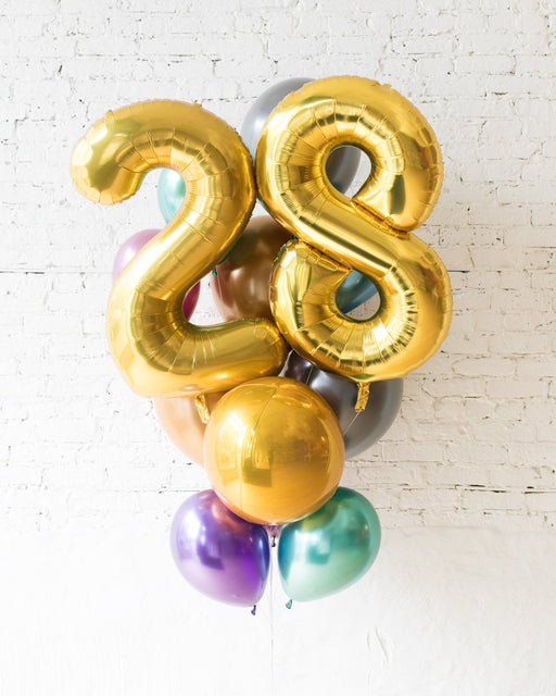 GIFT-All Chrome Palette Foil Number and Latex Balloon Bouquet