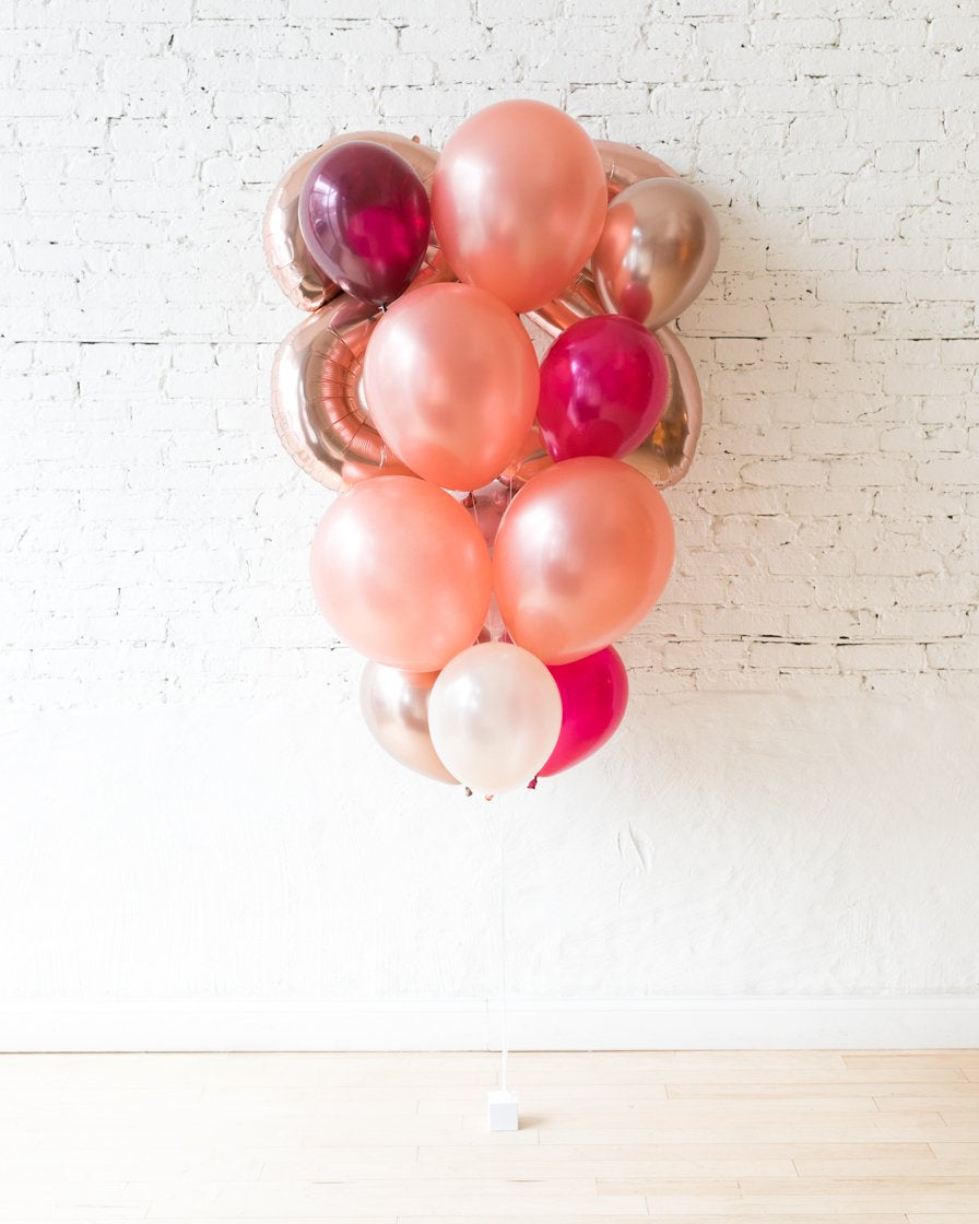 GIFT-Burgundy Pink Palette Foil Number and Latex Balloon Bouquet